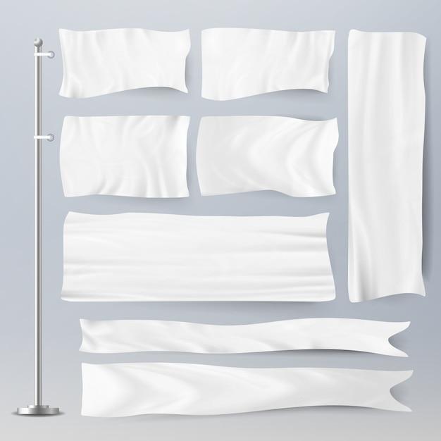 Realista modelo em branco bandeiras brancas Vetor Premium