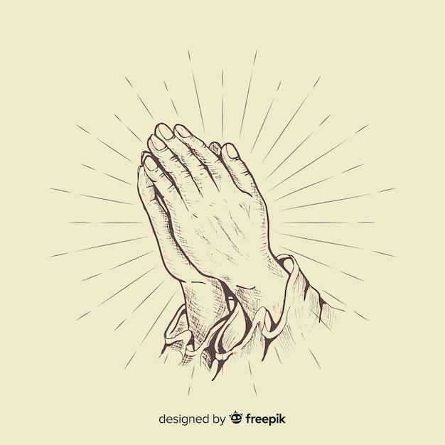 Realista orando mãos fundo Vetor grátis