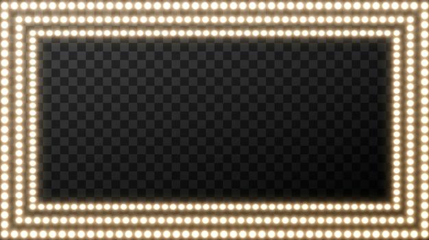 Realista retrô lâmpada na praça. placa de filme brilhante com lâmpada dourada com espaço em branco para texto. Vetor Premium