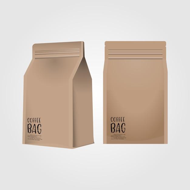 Realista saco de café de papel em branco 3d isolado no fundo branco Vetor Premium