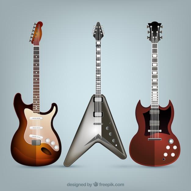 Realista variedade de três guitarras elétricas Vetor grátis