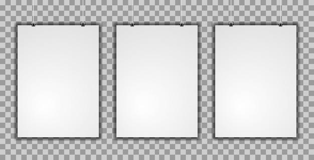Realista vertical de maquete de três cartazes Vetor Premium