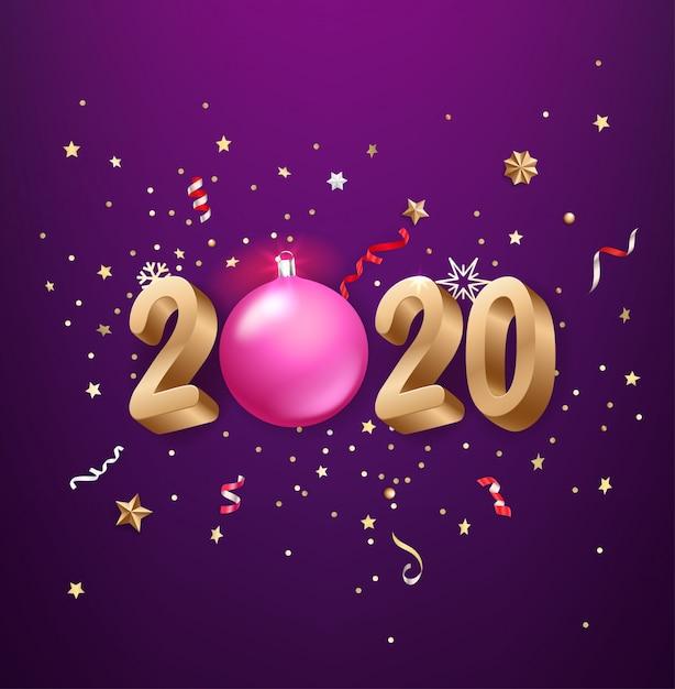 Realistas 2020 números dourados, confetes festivos, estrelas e assim por diante. Vetor Premium