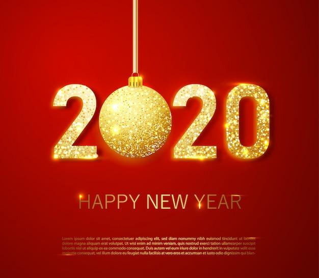 Realistas 2020 números dourados e confetes festivos, estrelas e fitas espirais em fundo vermelho Vetor Premium