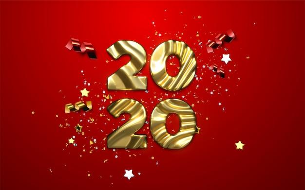 Realistas 2020 números dourados e confetes festivos, estrelas e fitas. ilustração de férias Vetor Premium
