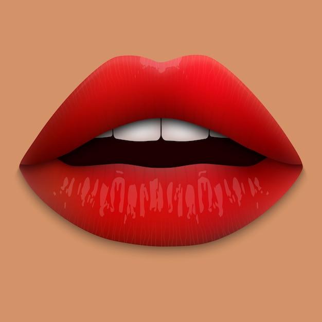 Realistas 3d lábios vermelhos isolados. Vetor Premium