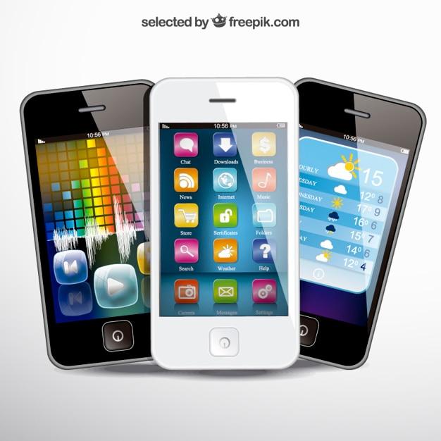 Realistas telefones móveis Vetor grátis
