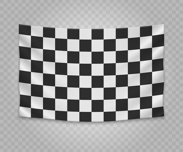 Realistic bandeira de acabamento quadriculado de suspensão. projeto vazio da ilustração da bandeira da tela. Vetor Premium