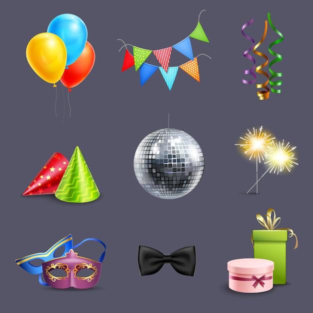 Realistic celebration icons Vetor grátis