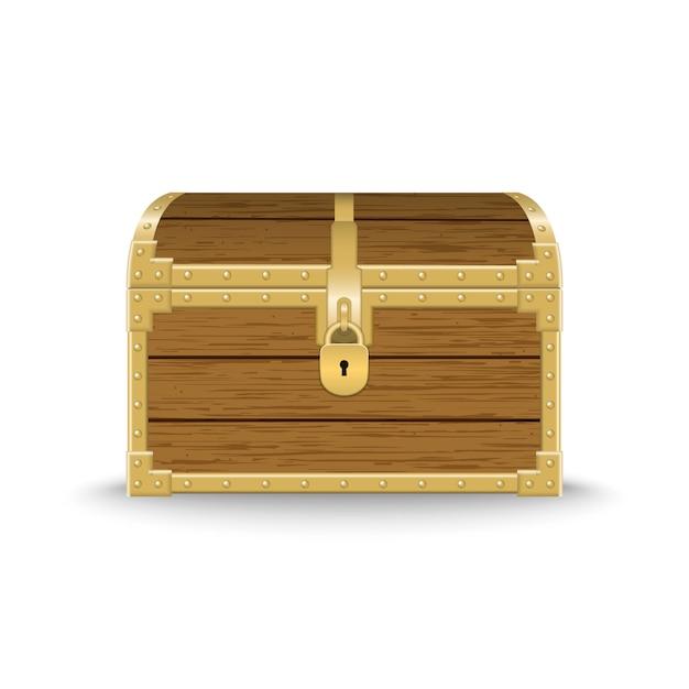 Realistic chest de madeira ilustração Vetor Premium