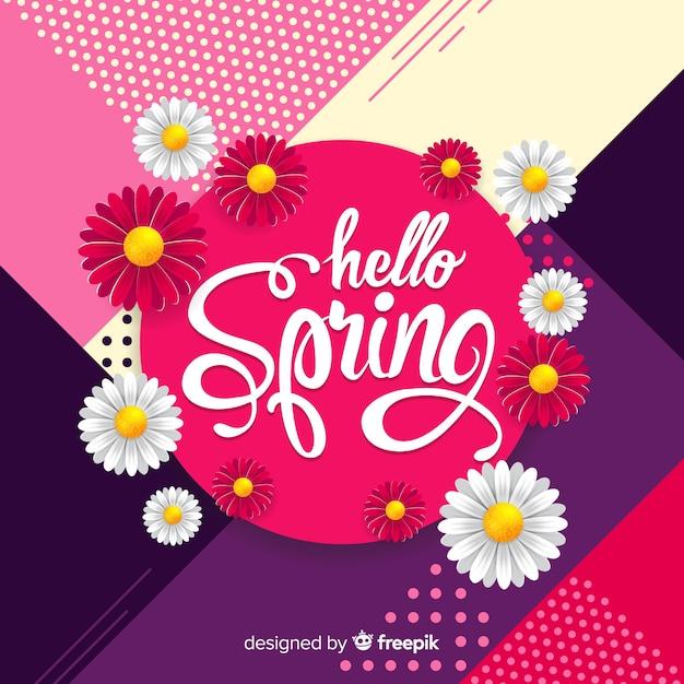 Realistic dasies olá primavera fundo Vetor grátis
