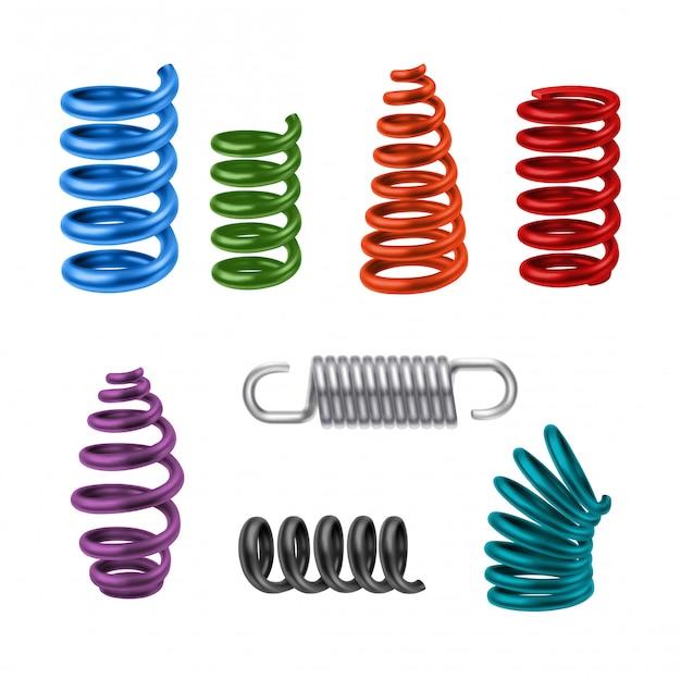 Realistic metal springs colorido Vetor grátis