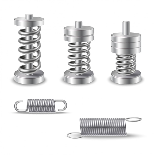 Realistic metal springs devices Vetor grátis