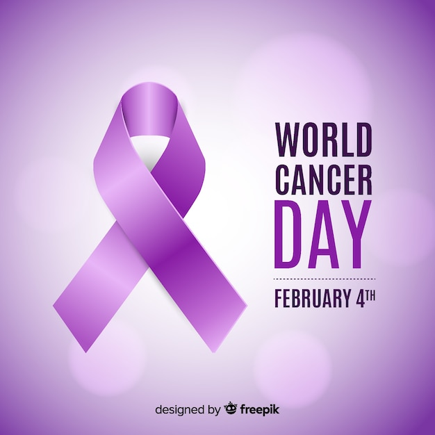 Realistic ribbon world cancer day background Vetor grátis