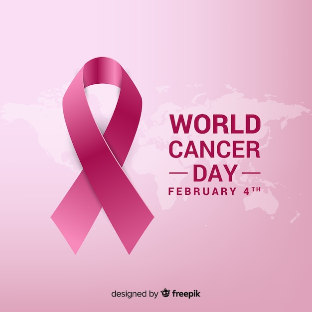 Realistic ribbon world cancer day background Vetor grátis