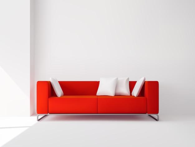 Realistic sofá quadrado vermelho nas pernas de metal Vetor grátis