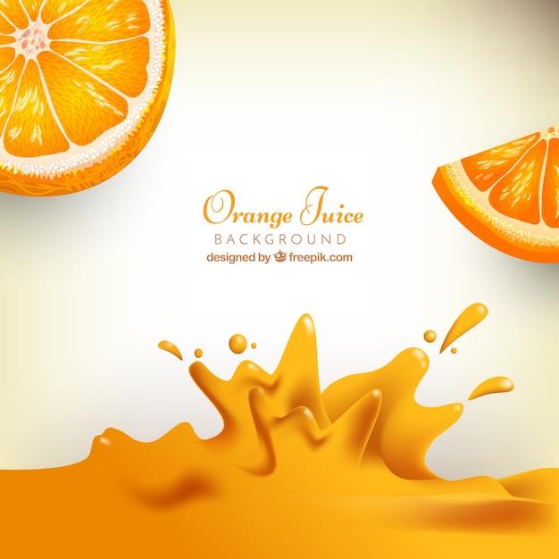 Realístico, fundo, laranja, suco Vetor grátis