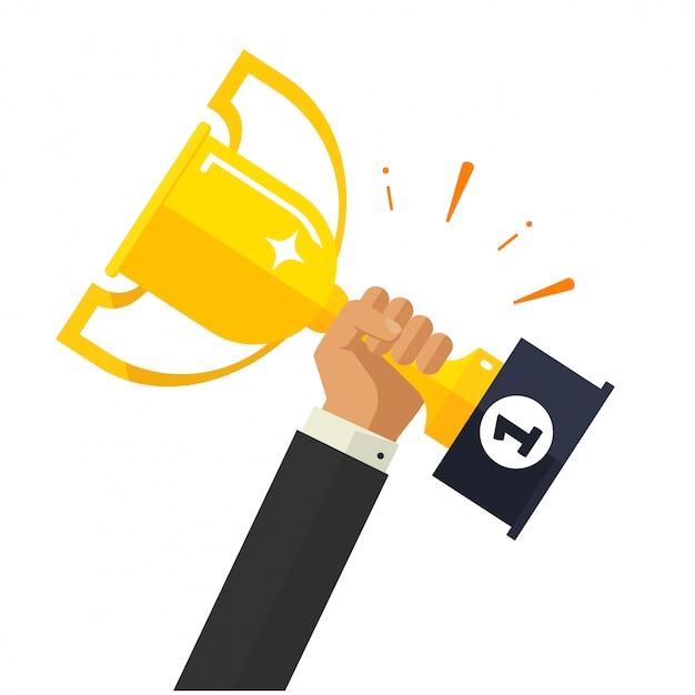 Realização de objetivos de negócios ou empresário segurando o prêmio da copa de ouro Vetor Premium