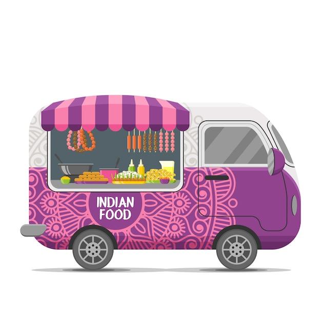 Reboque de caravana de comida de rua indiana Vetor Premium