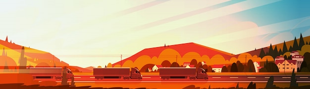 Reboques de caminhão semi grande condução estrada sobre paisagem de montanhas ao pôr do sol banner horizontal Vetor Premium