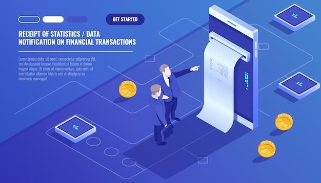 Recebimento de dados estatísticos, notificação sobre transações financeiras, banco móvel Vetor grátis