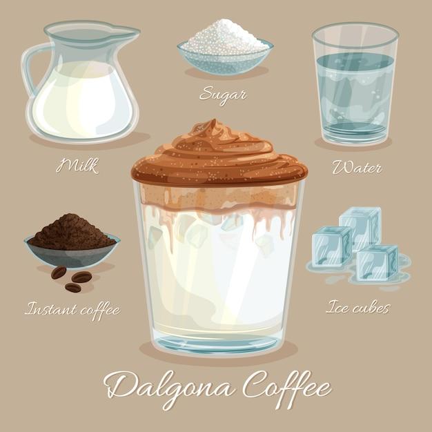 Receita de café dalgona com cubos de gelo Vetor grátis