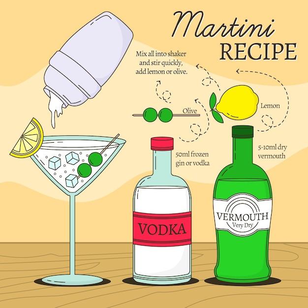 Receita de coquetel de bebidas alcoólicas martini Vetor grátis