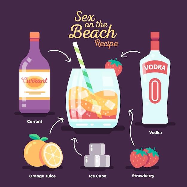 Receita de coquetel para sexo na praia Vetor grátis