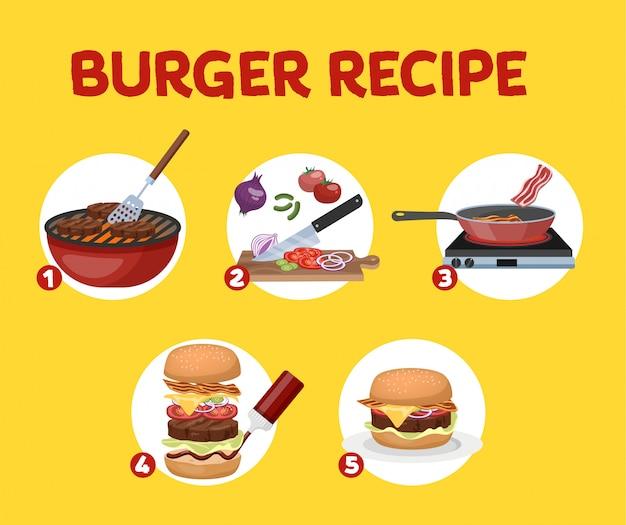 Receita de hambúrguer caseiro. cozinha americana fast-food em casa. saborosa refeição fresca para o jantar. ilustração Vetor Premium