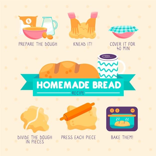 Receita de pão caseiro com passos Vetor grátis