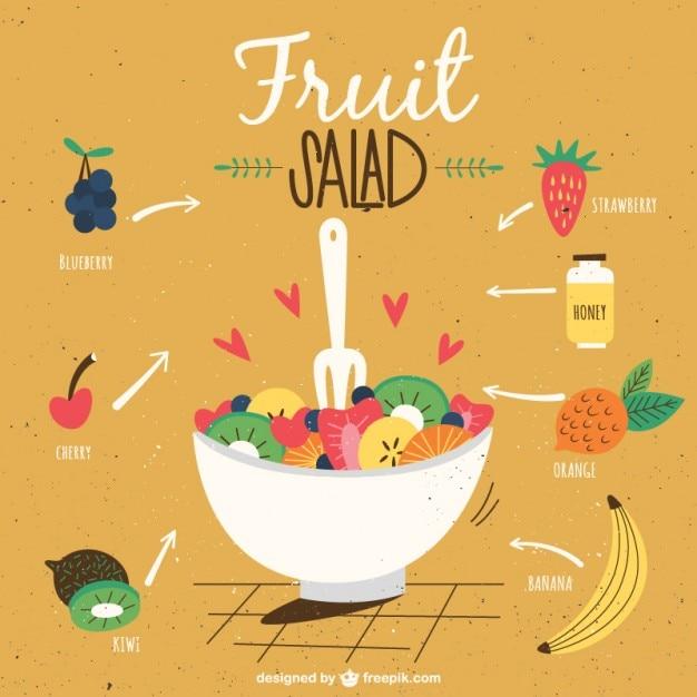 Receita de salada de frutas Vetor grátis