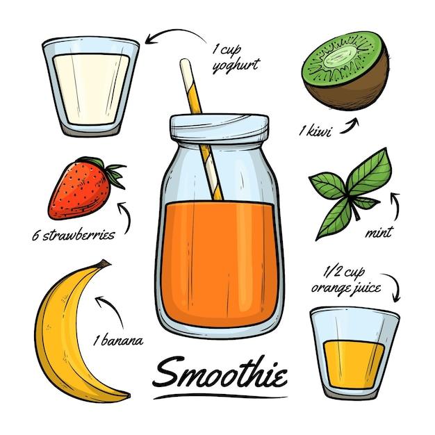 Receita de smoothie saudável com kiwi Vetor grátis
