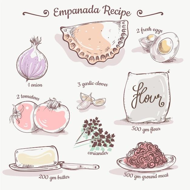 Receita empanada com ingredientes Vetor grátis