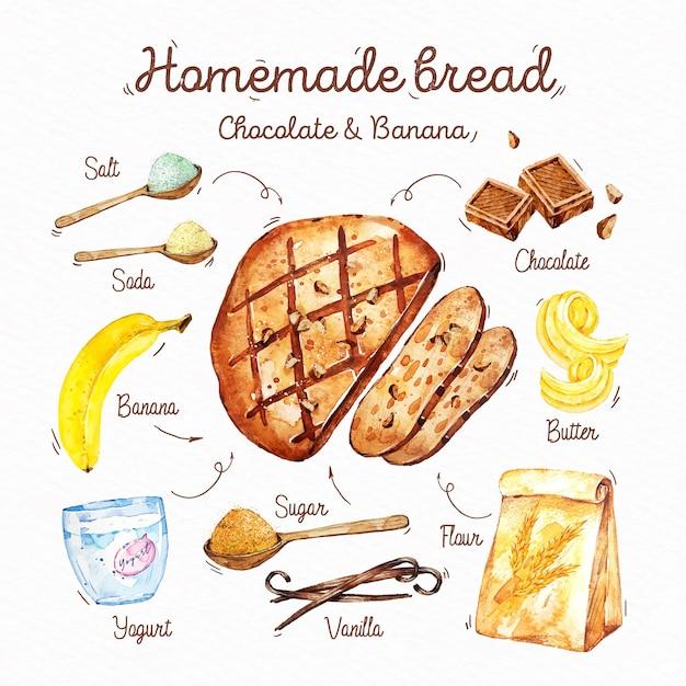 Receita ilustrada de pão caseiro Vetor grátis