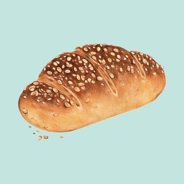 Recém-assados multigrain pão ilustração desenhados à mão Vetor Premium