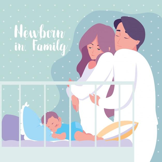 Recém-nascido em família com pais e bebê dormindo no berço Vetor Premium