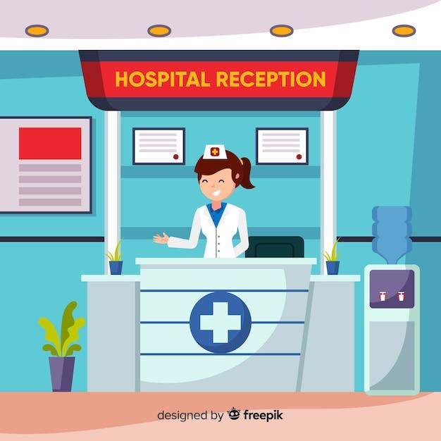 Recepção do hospital com design plano Vetor grátis