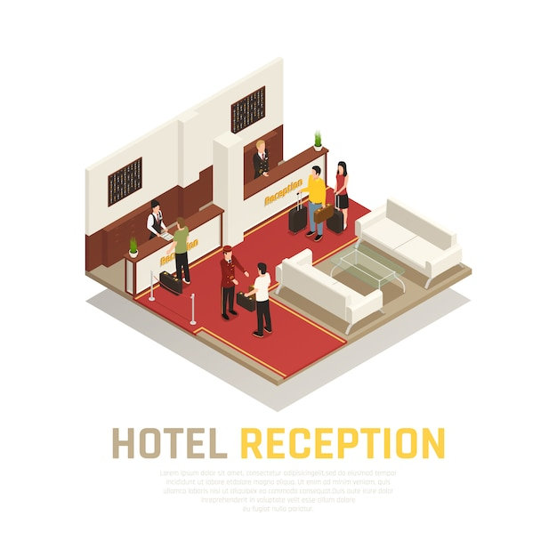 Recepção do hotel com funcionários e turistas área de hóspedes com composição isométrica de móveis brancos Vetor grátis