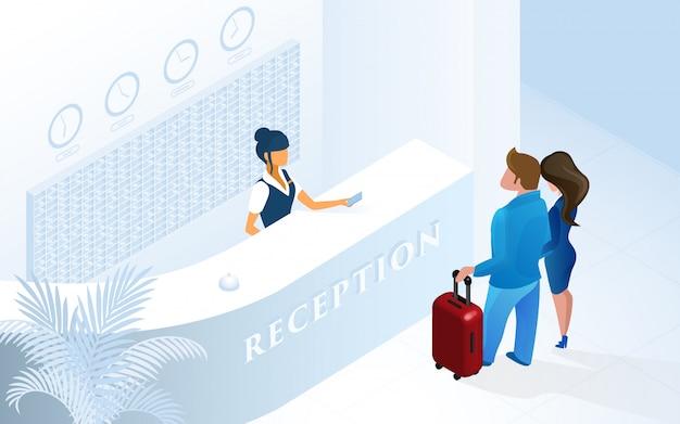 Recepção do hotel mulher recepcionista no balcão Vetor Premium