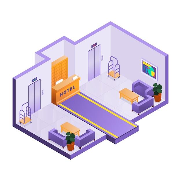 Recepção isométrica ilustrada do hotel Vetor grátis