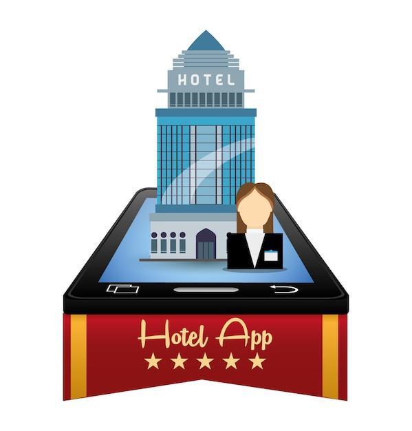 Recepcionista de smartphone e hotel com design de apps digitais Vetor Premium