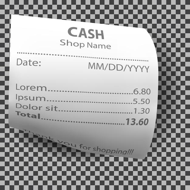 Recibo de loja realista, verificação de conta de pagamento em papel Vetor grátis