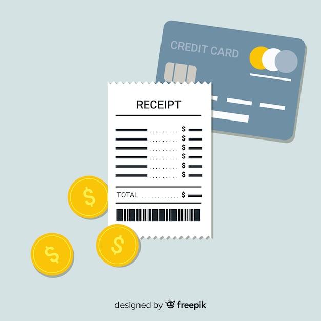 Recibo plano e cartão de crédito Vetor grátis