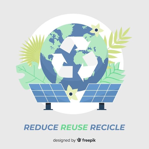 Recicl o sinal e painéis solares Vetor grátis