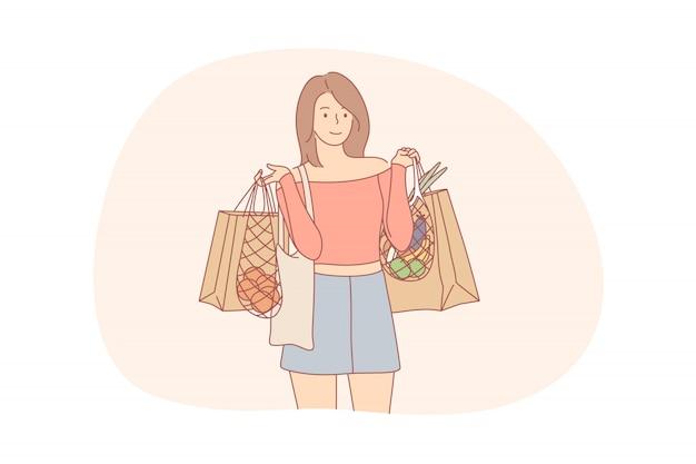 Reciclagem, compras, ecologia, alimentos, conceito de desperdício zero Vetor Premium