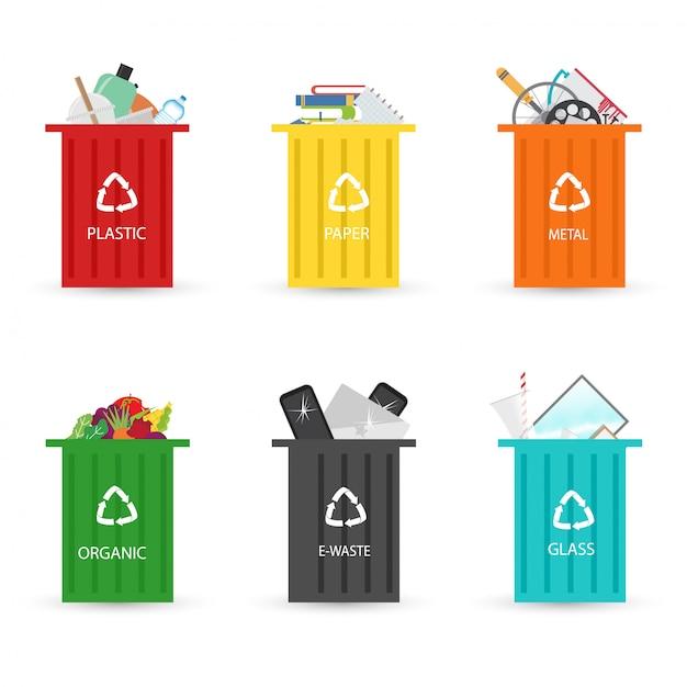 Reciclagem de lixeiras de elementos de lixo Vetor Premium