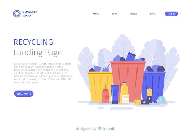 Reciclagem de modelo de página de destino de lixo Vetor grátis