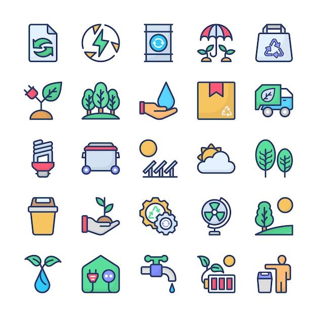 Reciclagem e pacote de ícones de ecologia Vetor Premium