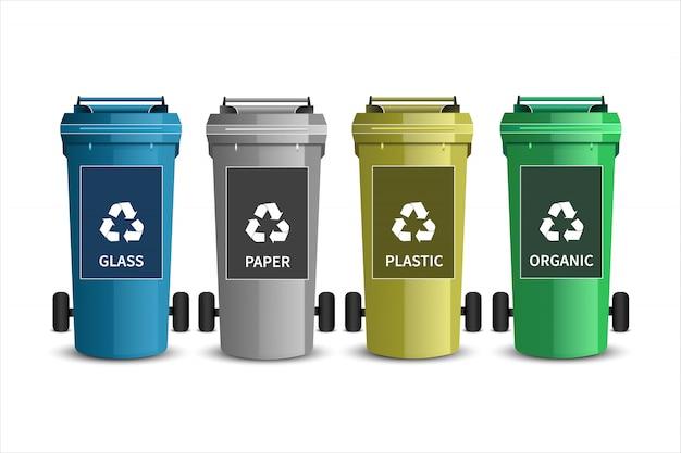 Reciclagens. latas de lixo de plástico Vetor Premium