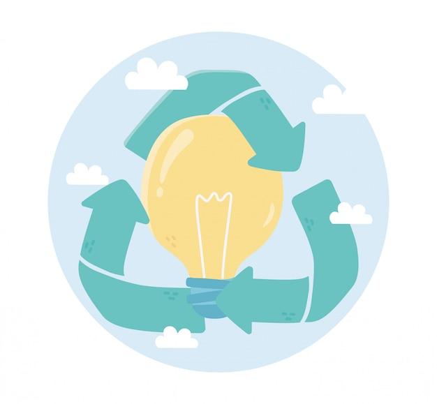 Reciclar bulbo criatividade ambiente ecologia Vetor Premium